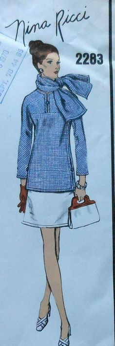 Vintage 60's Vogue Paris Original NINA RICCI Dress & Scarf Sewing Pattern