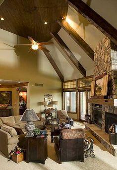 (Great Room) Wooden beams! Stone chimney! Hardwood ceiling!