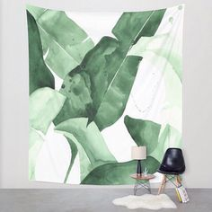 "20 x 30 ""Beverly II"" Tropical Banana Leaves Watercolor Giclee Fine Art Print Poster Leaf Wall Art, Large Wall Art, Leaf Art, Framed Art, Photocollage, Ouvrages D'art, Leaf Prints, Watercolor Print, Watercolor Leaves"