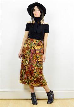 90s+gorgeous+boho+print+midi+skirt