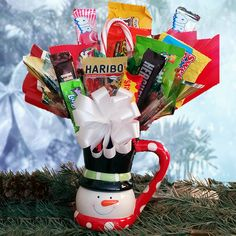 Snowman Mug Candy Bouquet | All About Gifts & Baskets