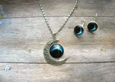 half moon necklace, planet necklace, silver moon necklace, earth necklace, solar system necklace, galaxy jewelry, space necklace,