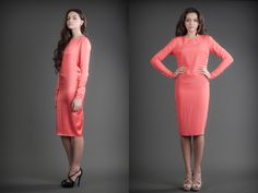 2 in 1 Dress - Shiny & Mat Coral 21st Dresses, Dresses For Work, Reversible Dress, Cashmere, Coral, Silk, Fashion Design, Clothes, Tall Clothing