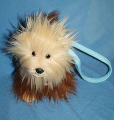26f08e7a3e9 Yorkie Terrier Dog Purse Zips brown tan plush Bob Gedan Girl bag blue  handle 11