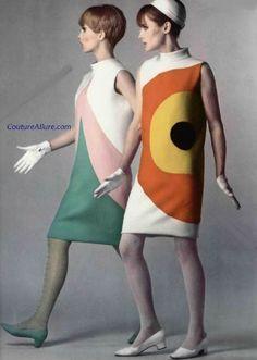 Pierre Cardin vestidos Op Art de fines de los 60s