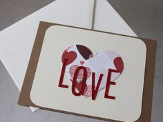 LOVE Valentine Card by LYHHandmadeGifts on Etsy Love Valentines, Valentine Cards, Love Your Home, Love Cards, I Shop, Unique Jewelry, Handmade Gifts, Blog, Envelopes
