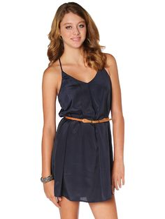 Papaya Clothing Online :: FRONT PLEATED SOLID DRESS W/ BELT