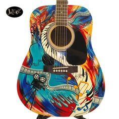 Juleez Gibson Guitar Hand Painted Custom Paint Colorful – Graffiti World Acoustic Guitar Tattoo, Guitar Logo, Best Acoustic Guitar, Cool Guitar, Strat Guitar, Acoustic Guitars, Custom Electric Guitars, Custom Guitars, Painted Ukulele