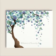 Blue Green Tree Art Print 8 x 10, Watercolor Art, Nature Wall Décor, Pastels, Willow Tree (206)      Blue and green circles flow gracefully to