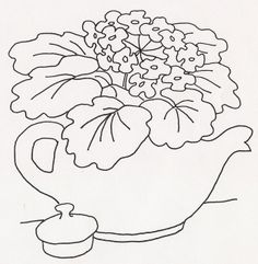 Violets in Teapot Hand Embroidery Patterns, Applique Patterns, Diy Embroidery, Vintage Embroidery, Cross Stitch Embroidery, Quilt Patterns, Sewing Art, Wool Applique, Quilting Designs