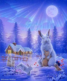 - Art by Kentaro Nishino - Nature Art & Wildlife Art - Airbrushed Wildlife Art. Art And Illustration, Illustrations, Animal Drawings, Cute Drawings, Animals Beautiful, Cute Animals, Wolf Images, Cute Fantasy Creatures, Rabbit Art