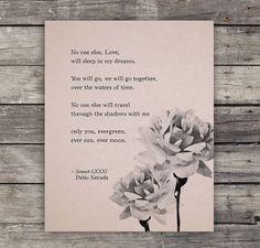 Love Poem Print  Pablo Neruda Love Poem  Poetry by Riverwaystudios, $18.00