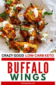 This Keto Buffalo Wing recipe is SO EASY to make and works just as well for a game day appetizer as it does for a weeknight meal. You won't believe how crispy this recipe is! This dish can be oven baked, made in the Air Fryer, or fried. #kickingcarbs #ketodiet #ketogenic #lchf #ketobuffalowings
