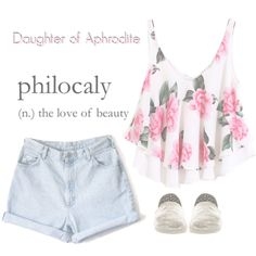 Daughter of Aphrodite. Girly Outfits, Kids Outfits, Movie Outfits, Percy Jackson Outfits, Polyvore Outfits, Aphrodite Aesthetic, Camisole Top, Daughter, Rompers