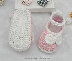 Crochet Baby Booties Pink Crocheted Baby Shoes With Long Band, Pink Crocheted Bab...