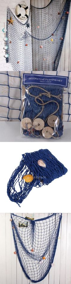 Seafood fishing nautical seaside large arched cage wood rope net garden decor
