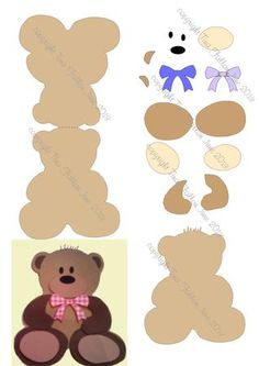 Teddy Bear Shaped Card Template and paper piecings studio on Craftsuprint designed by Tina Fallon - Teddy Card Shaped Template and layered piecings which can also be used separately. Can be resized to suit. - Now available for download!