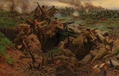 Canadians during the Second Battle of Ypres in 1915.  It shows a good understanding of how the canadians are creating shell holes.  It projects the hill that the German were on.