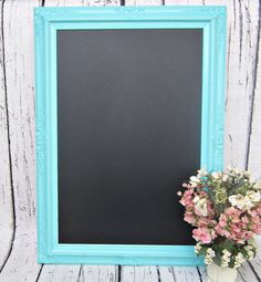 "SHABBY CHIC WEDDING Chalkboard - maybe have guests ""sign it"" in colored chalks and seal after?"
