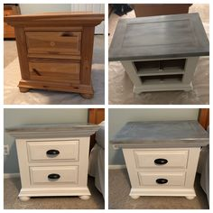 Broyhill Fontana nightstands done in Annie Sloan chalk paint. Refinished Bedroom Furniture, Broyhill Furniture, Diy Furniture Renovation, Distressed Furniture, Repurposed Furniture, Furniture Projects, White And Grey Bedroom Furniture, Refinished Nightstand, Chalk Paint For Furniture