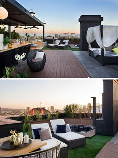 This Apartment In Barcelona Was Completed With A Rooftop Entertaining Space Egue y Seta have designed a modern rooftop terrace in Barcelona, with a covered outdoor kitchen / bar, an alfresco dining area, a lounge, and a sunken hot tub. Rooftop Decor, Rooftop Design, Rooftop Terrace, Rooftop Gardens, Outdoor Kitchen Bars, Outdoor Dining, Dining Area, Terrace Garden Design, Patio Design