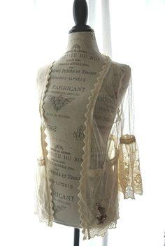 Boho chic jacket shabby lace balzer gypsy by TrueRebelClothing, $64.00