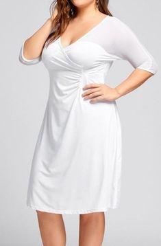 fc3792353f7  30.99 Voile 3 4 Sleeve V Neck Plus Size Skater Dresses Plus Size Skater  Dress
