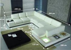Canapé cuir d'angle Denver dimensions