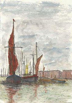 ARTFINDER: Sailing Barge and Tugboat - I have just published Sailing Barge and Tugboat on Artfinder