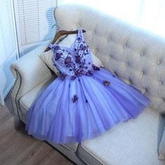 A line v-neck short tulle homecoming dresses with applique,hs075 - Thumbnail 2