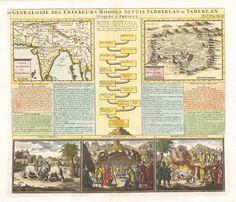 Authentic Antique Map of India: Genealogie Des Empereurs Mogols Depuis Tamberlain ou Tamerlan Jusques a Present  By: Henri Chatelain  Date: 1732 (Published) Amsterdam