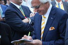 Bob Baffert signs autographs after winning the Preakness Stakes with American Pharoah Stakes Day, Bob Baffert, Preakness Stakes, American Pharoah, Sport Of Kings, Bull Riders, Horse Racing, Trainers, Horses