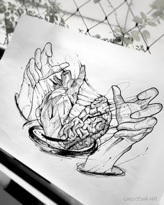 I want to tattoo my hands I cook heart and brain – Tattoo Sketches & Tattoo Drawings Pencil Art Drawings, Art Drawings Sketches, Tattoo Sketches, Tattoo Drawings, Cool Drawings, Body Art Tattoos, I Tattoo, Cool Tattoos, Sleeve Tattoos