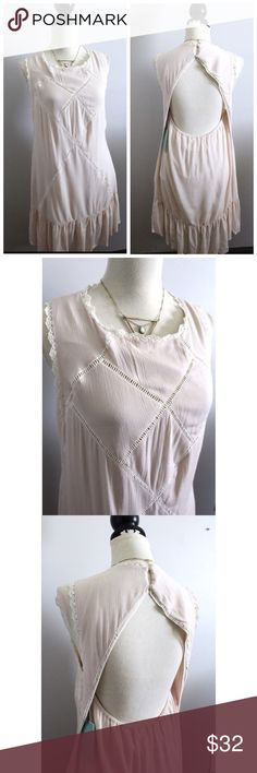 """Ivory soft backless casual shift dress Bust-36-68"""" Length-35""""  Sz L But fits more like a medium (8)  Very soft and comfortable, great for cute casual wear. Looks much better than pics.  ONLY SELLING  #ivory #summerdress #backless #soft #boho #comfy #party #beach Andree Dresses"""