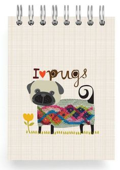 """JOURNALS :: Mini 3x4"""" :: Pug with sweater - Ecojot - eco savvy paper products"""