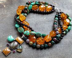 amber, turquoise, fancy jasper and garnet