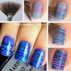 Fan Brush Nail Art Tutorial. Put on one color than dip the fan brush in a different color and then rub across the nail 2 to 3 times!!! Works  Great!!!!