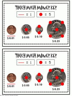 Printables Touch Math Money Worksheets money worksheets and free on pinterest touch math freebie