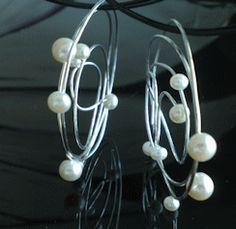 Sterling Draad Oorbellen Creolen met witte zoetwaterparels