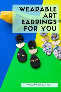 Wearable Art comes in many forms but the easiest way to start is with something that is completely unique like these earrings. Moon Earrings, Chandelier Earrings, Clay Earrings, Flower Earrings, Gold Earrings Designs, Unique Earrings, Earrings Handmade, Coral Jewelry, Sweet Nothings