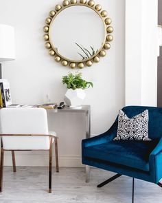 A spot of blue for your Thursday. This swivel velvet chair is only available in store and super comfy. Call the shop or see in person.
