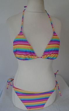 7541cb695a1 Primark Multi Stripy Print Two Piece Bikini Swimsuit Size 14 Holiday Beach  Pool  fashion