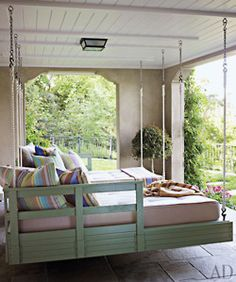 Great for a nice spring/summer night...Sleeping Porch!  But I'd like to be screened in from the mosquitos!