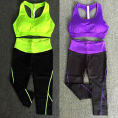 Women Sports Gym Yoga Bra + Cropped Pants Fitness 2Pcs Suit Exercise Set Hx