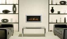 The Stovax Studio Bauhaus is a wood burning inset fire with a classic three dimensional tapered frame. House, Gas Fires, Gas, Studio, Glass Fronted Gas Fire, Home Decor, Wood Burning Fires, White Stone, Fireplace