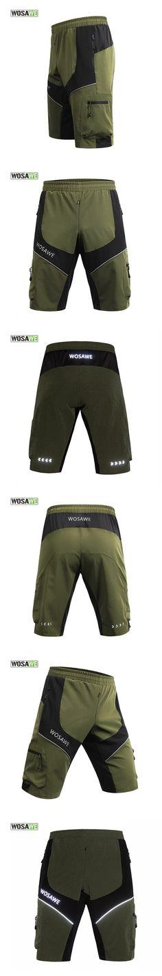 WOSAWE MTB Cycling Shorts Men Army Green Summer Short Bike Downhill Bicycle Shorts Anti-sweat Clothing Outdoor Sport 50