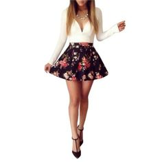 http://momsmags.net/best-skater-dresses-long-sleeves-teens-2015/ Moxeay® V-neck Floral Printed Party Prom Ball Bodycon Dress (XS)