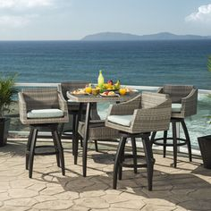 RST Brands Cannes Spa Outdoor Bar Stools and Table