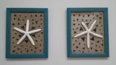 Shark teeth burlap picture frame with starfish. Perfect project for shark teeth. Creates beautiful decor for the house.