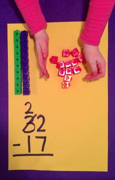 Subtraction, using unifix cubes